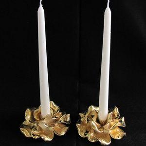 Vintage Gold Crackle Ceramic Rose Candle Holders